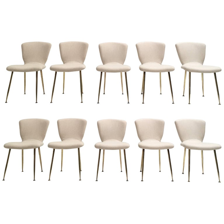 10 Dining Chairs by Louis Sognot for Arflex, 1959,brass legs,Upholstery Restored 1