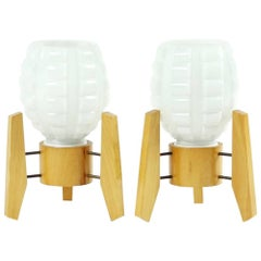 Midcentury Table Lamps in White Glass and Wood, Drevo Humpolec, Czechoslovakia