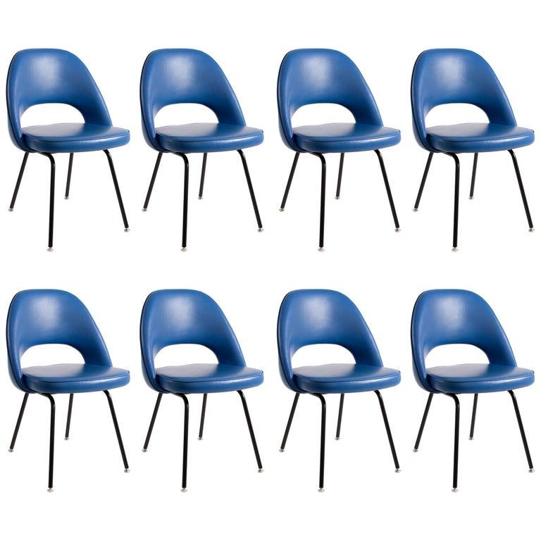 Eight Blue Eero Saarinen Armless Executive Chairs by Knoll International, 1960s