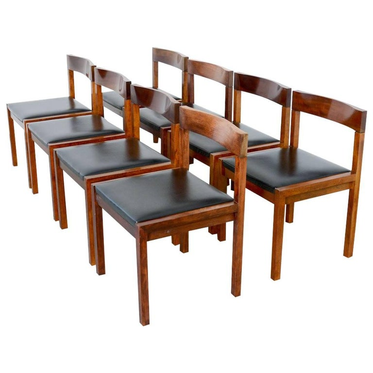 Set of Eight Dining Chairs by Alfred Hendrickx for Belform For Sale