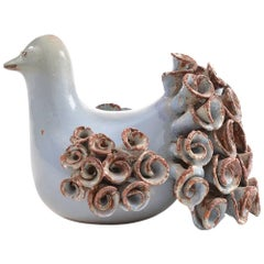 Handmade Glazed Ceramic Pigeon Sculpture, Czechoslovakia, 1970