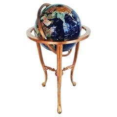 Large Blue Lapis Gemstone Globe, 1960s