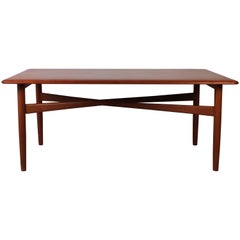 Danish Midcentury Solid Teak Coffee Table with Crossed Legs