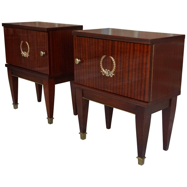 Pair Of Mahogany And Brass Bedside Tables French Design