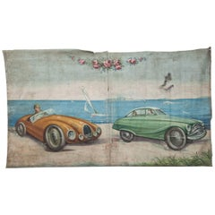 Extremely Large 1940s Fairground Canvas