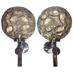 Pair of Italy Chrome and Organic Structure Glass Ball Sconces