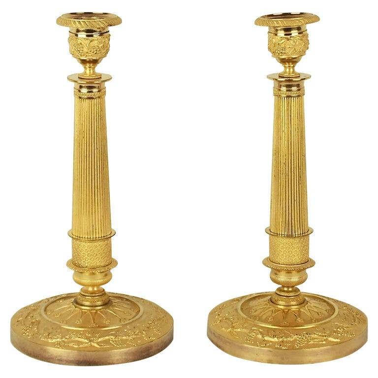 Pair of French Empire Ormolu Candlesticks