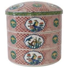 Japanese Traditional Hand-Painted Kutani Three-Tiered Porcelain Stacked Boxes