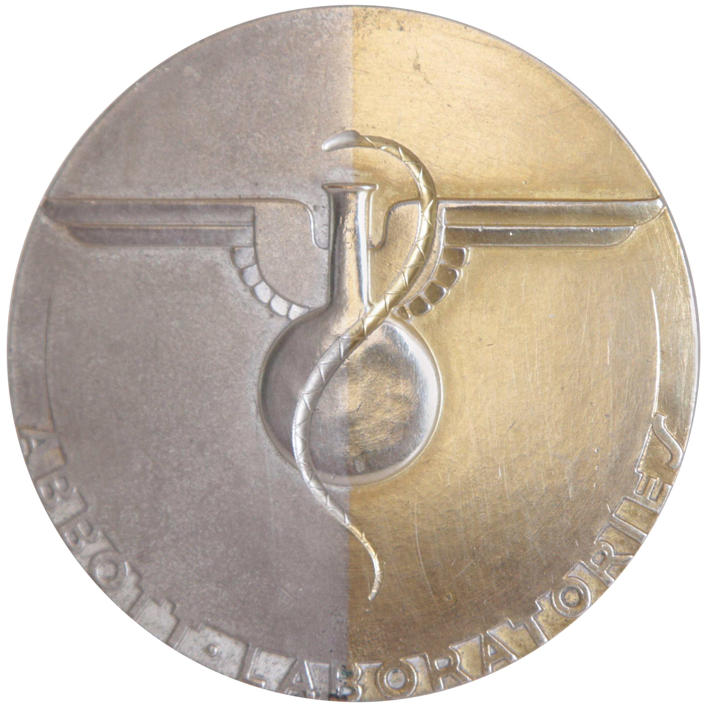 Machine Age Art Deco Raymond Loewy Medallion, Abbott Labs 50th Anniversary
