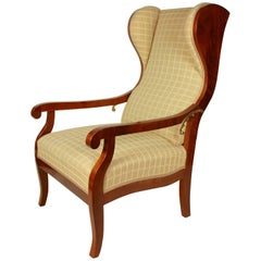 Large Biedermeier Declining Wing Chair, circa 1820