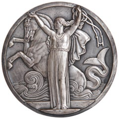 Art Deco French Normandie Medallion by Jean Vernon Silvered Bronze