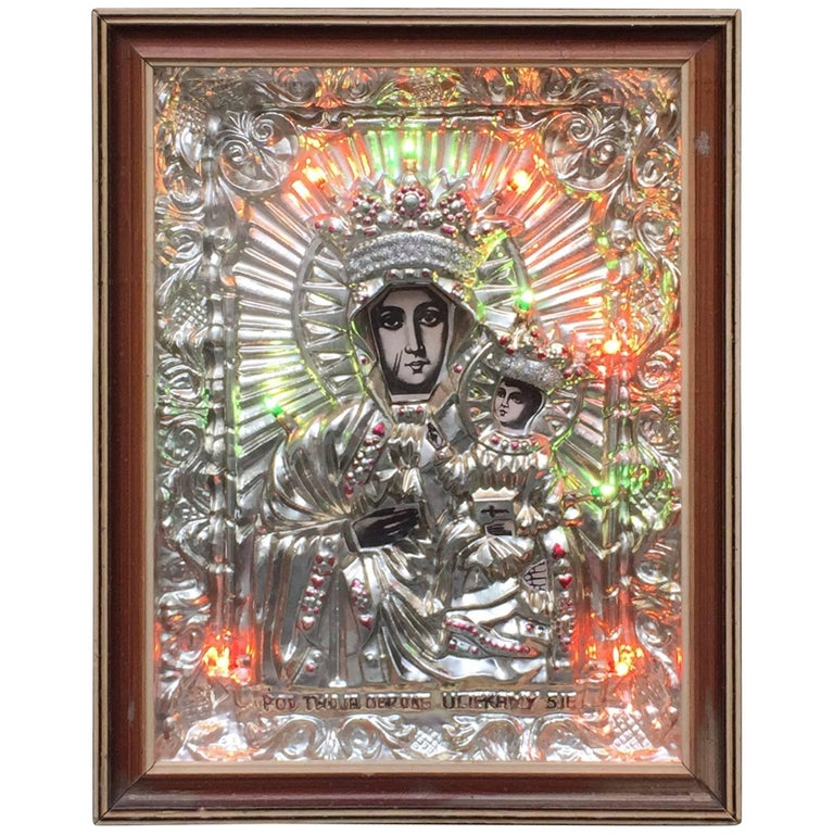 Polish Religious Icon Shrine Shadow Box That Lights Up, circa 1970