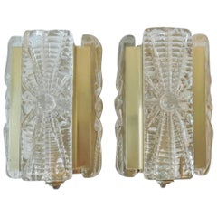 Set of Two Model 15415 Wall Lamps in Glass and Brass by Vitrika, Denmark, 1970s