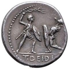 Ancient Roman Republican Gladiator Denarius, 113 BC