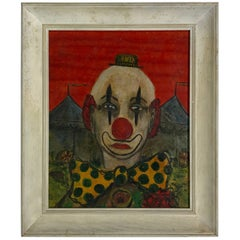Whimsical Oil on Board Painting 'Clown by Joe Arcos 1952