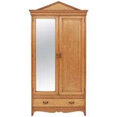 Antique Large Quality Gothic Victorian 19th Century Ash Oak Armoire Wardrobe
