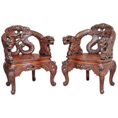 Pair of Early 20th Century Carved Chinese Chairs