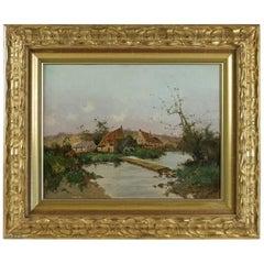 Leon Dupuy 'Galien Laloue' Houses in River-Bank, Barbizon School circa 1874-1884