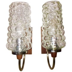 Pair of 1960s Teak Chrome Bubble Glass Sconces