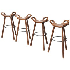 "Set of Four Brutalist ""Marbella"" Bar Stools by Sergio Rodrigues Spain, 1970s"