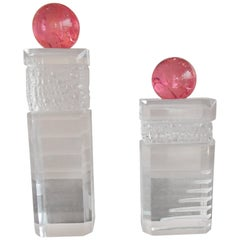 Pair of Modern Haziza Plexi Glass Sculptures Transparent and Pink Ball
