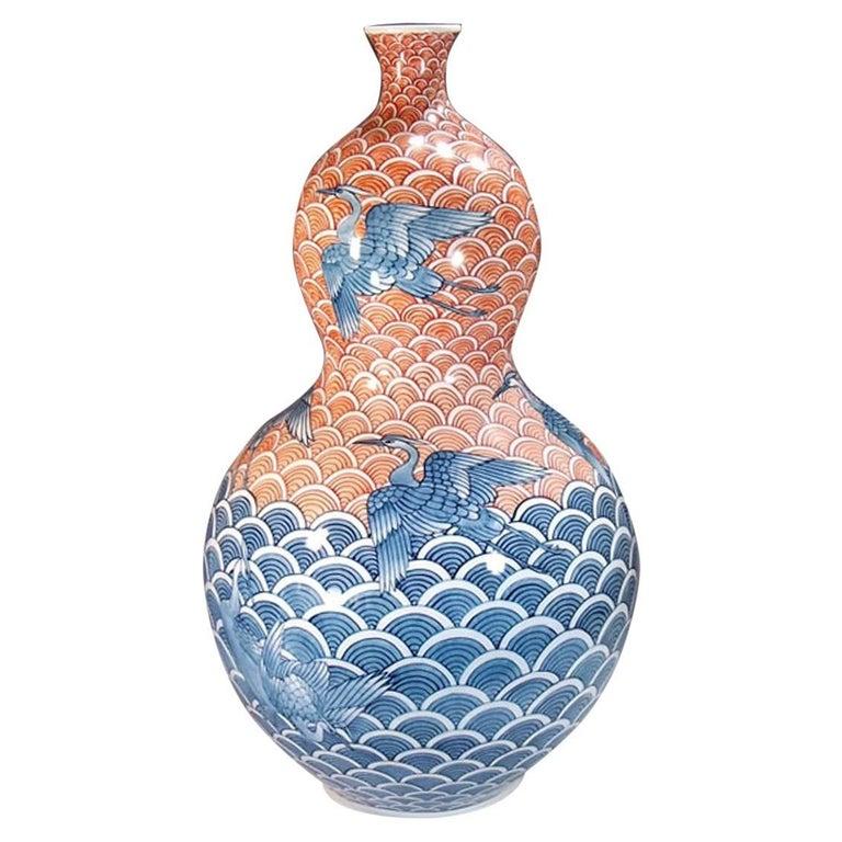Japanese Imari Red and Blue Decorative Porcelain Vase by Master Artist