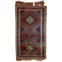 Handmade Antique Collectible Afghan Baluch Rug, 1900s