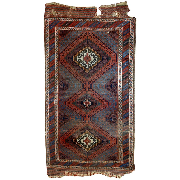 Handmade Antique Collectible Afghan Baluch Rug, 1900s For