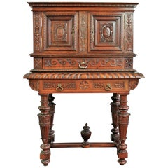 19th Century Renaissance Revival Cabinet Richly Hand-Carved