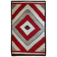 Handmade Antique Native-American Navajo Geometric Rug, 1900s