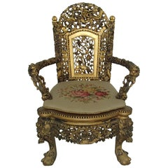 1930 Chinese Armchair Sculpted and Gold-Plated with Goblin