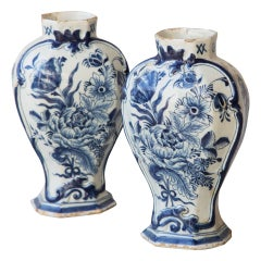 Pair of 18th Century Octagonal Baluster Delft Vases