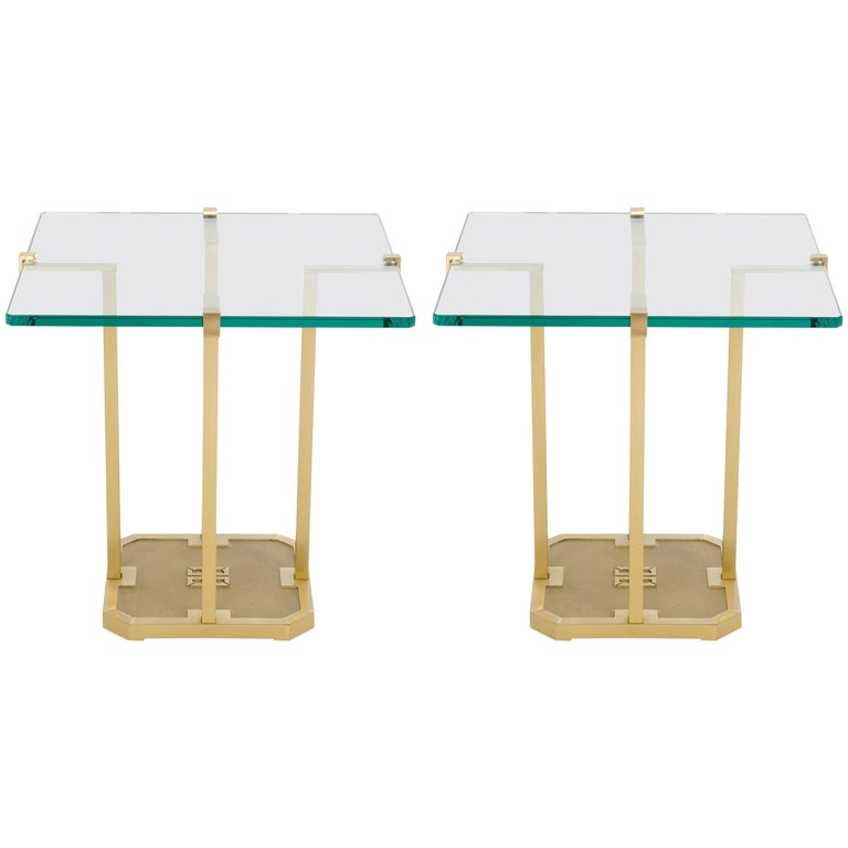 Pair of Side Tables by Peter Ghyczy Brass and Glass, Model T18, 1970