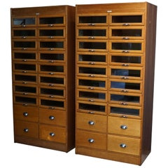 Pair of Oak Haberdashery Shop Cabinets or Retail Units, 1930s