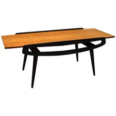Vintage 1950s, Italian Coffee Table in Sycamore and Ebonized Wood