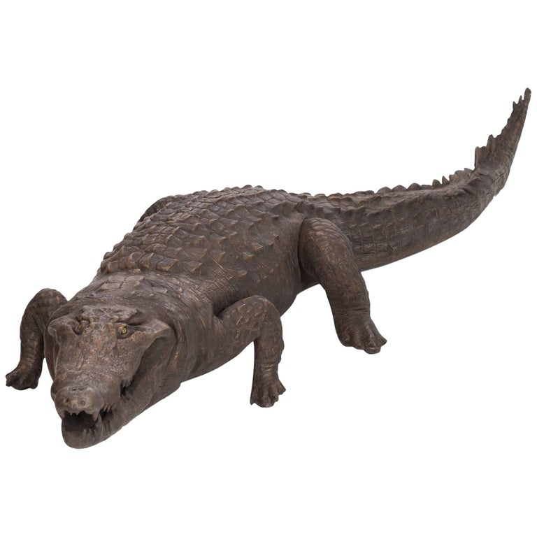 Bronzed Life-Size Crocodile sculpture  For Sale