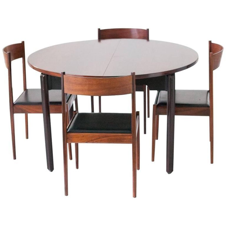 Set of Four Chairs and Dining Table in Rosewood by Stildomus, Italy, 1960s