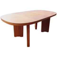 Beautiful Solid Elm Dining Table in the Manner of Chapo