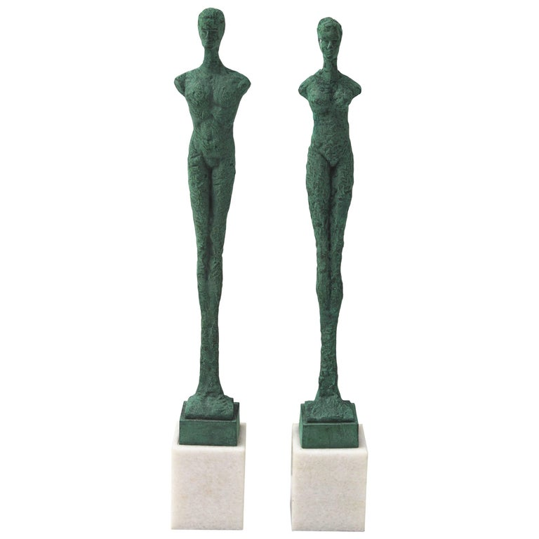 Pair of Patinated Bronze Giacometti Style Sculptures For Sale