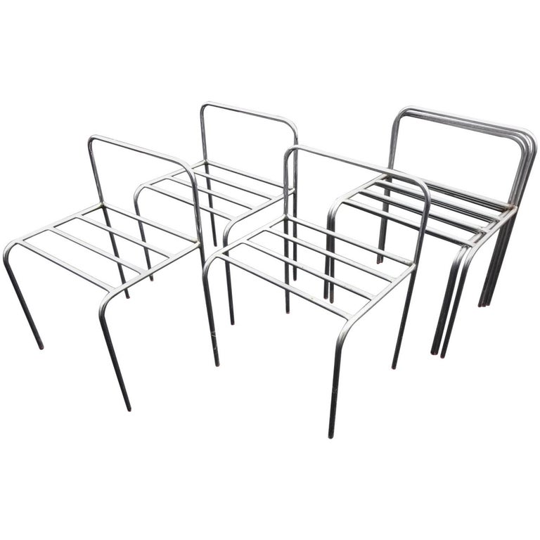 Set of Six Stackable Metal Chairs