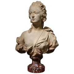 Terracotta Bust of a Young Woman, Augustin Pajou (1730-1809) and Workshop