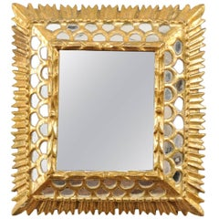 Small European Gilded Mirror with Raised Centre and Honeycomb Pattern Surround