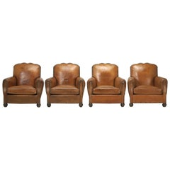 French Leather Club Chairs, Set of Four and Beautifully Restored