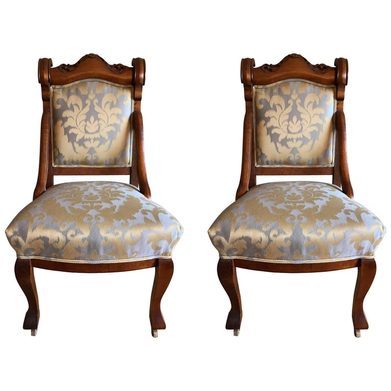 Pair of 19th Century Carved Walnut Chairs