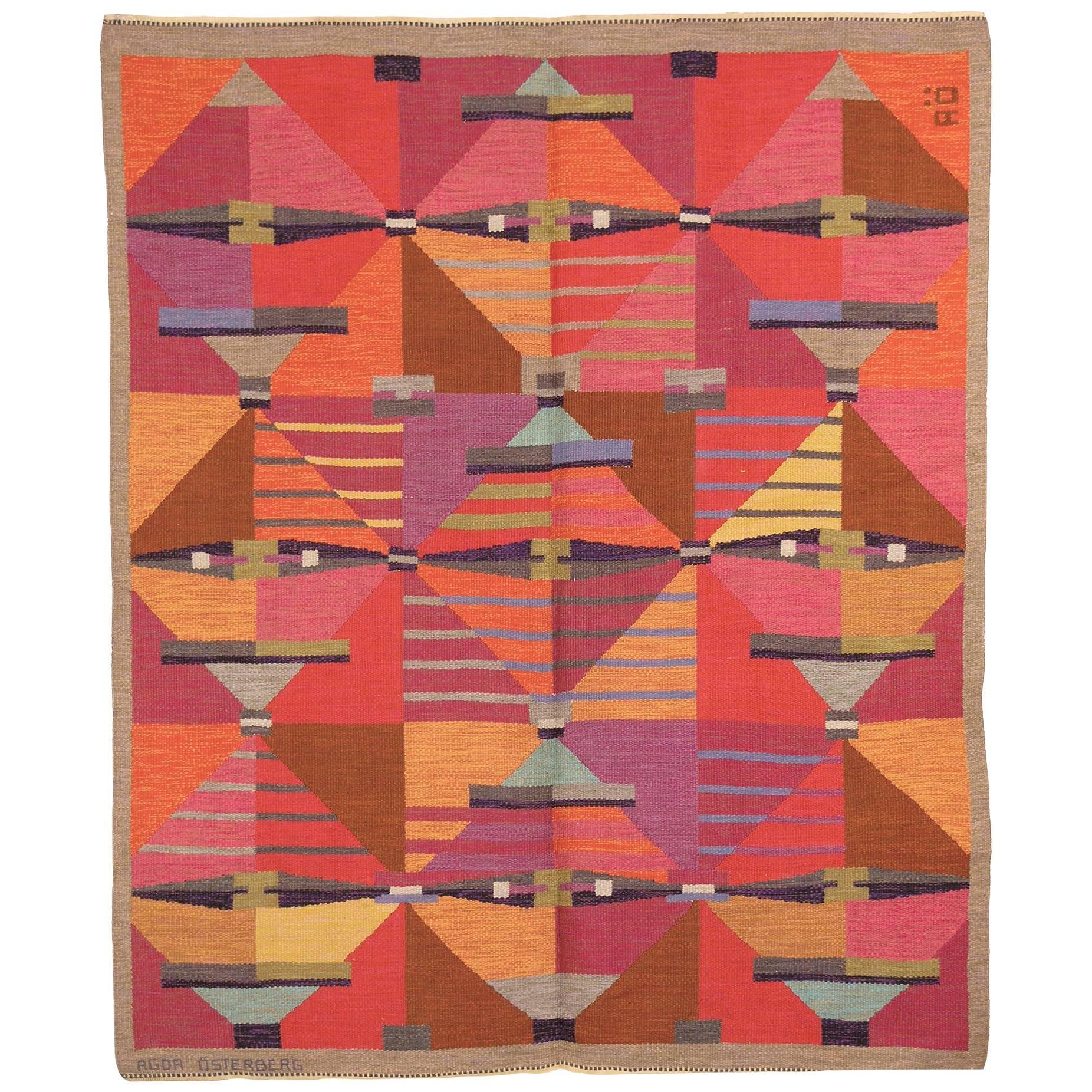 Swedish Flat-Weave Carpet by Agda Osterberg, 1960