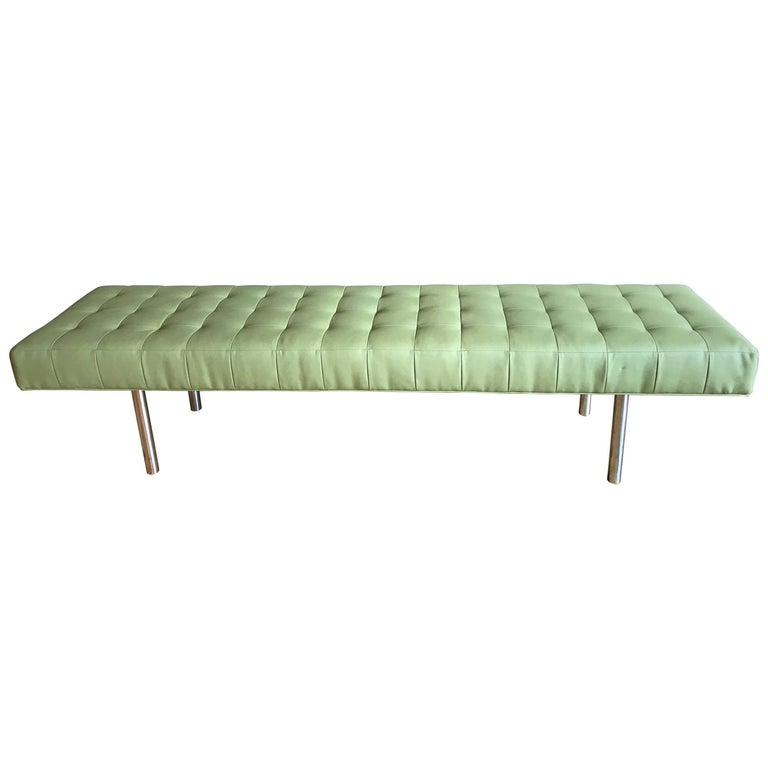 Long Chrome And Tufted Leather Bench For Sale At 1stdibs