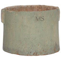 Early 20th Century American Stamped 'MS' Wooden Vessel with Two Handles