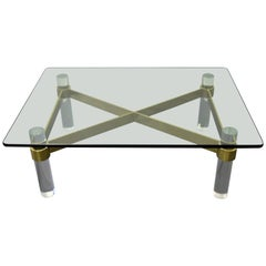 Karl Springer Style Lucite and Brass Coffee Table