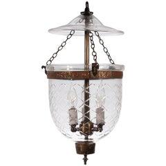Petite English Bell Jar Lantern with Diamond Motif
