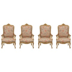 Set of Four French 19th Century Louis XV St. Giltwood High Back Armchairs